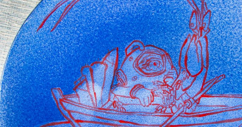 Mu homard barque mer céramique assiette scaphandrier étrange