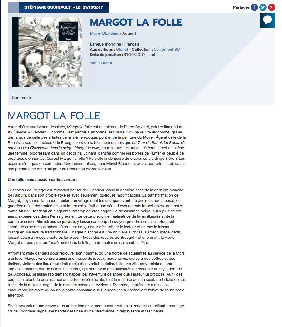 Margot la folle Mu Blondeau ActuSF Stéphane Gourjault