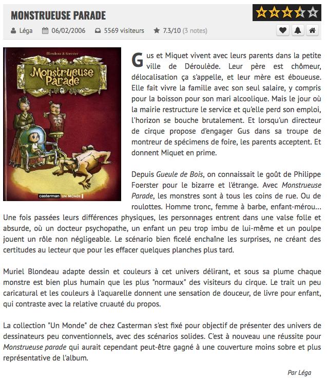 Monstrueuse Parade Mu Blondeau Philippe Foerster BDgest Léga