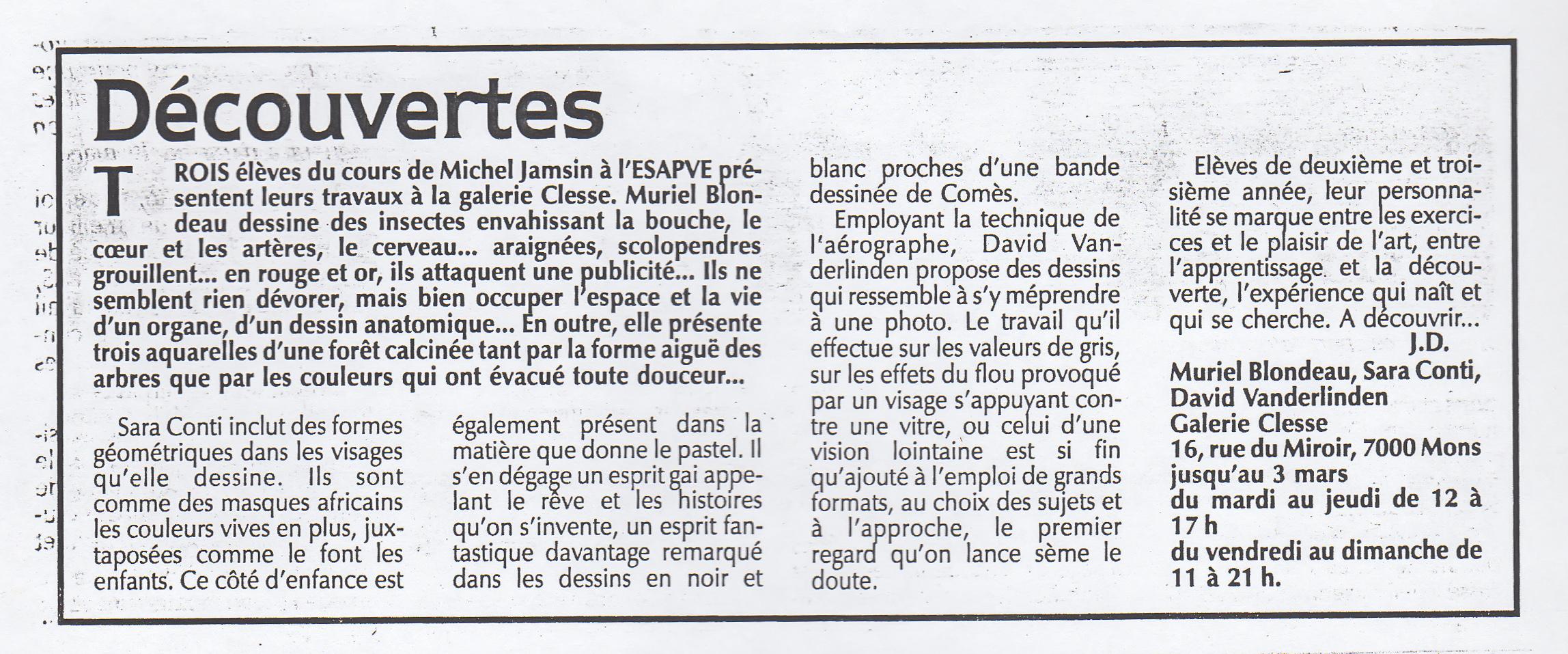 Mu Blondeau Galerie Clesse Presse