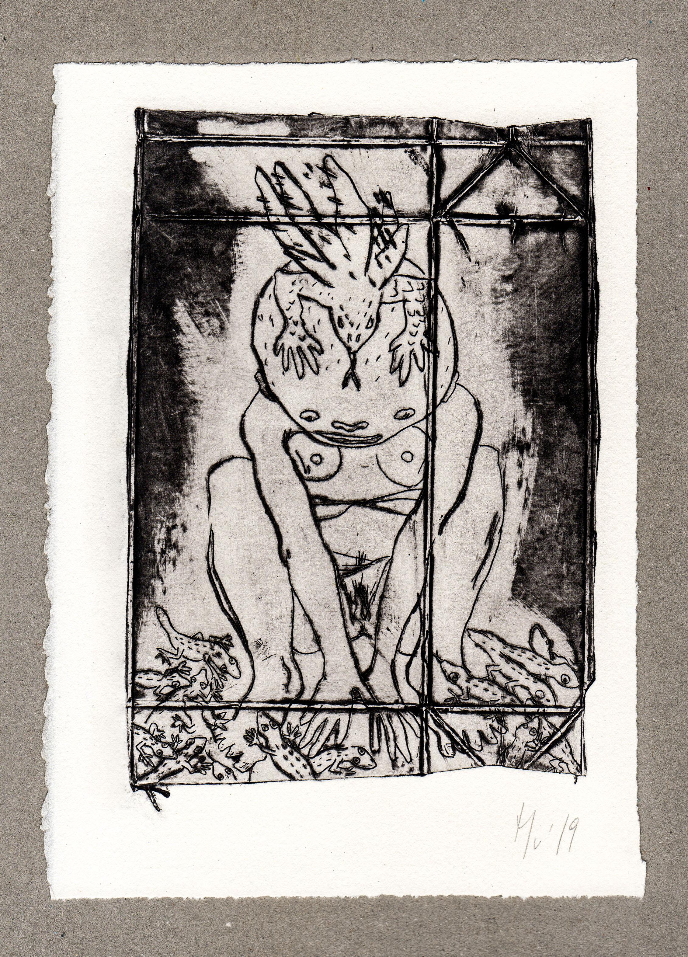 Mu Blondeau La Célébration des Métamorphoses avortées Gravure Pointe sèche Tetra Pak-7