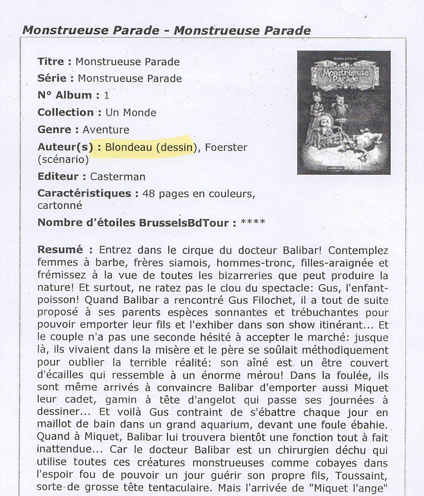 Mu Blondeau Monstrueuse Parade Philippe Foerster BrusselsBDtours1
