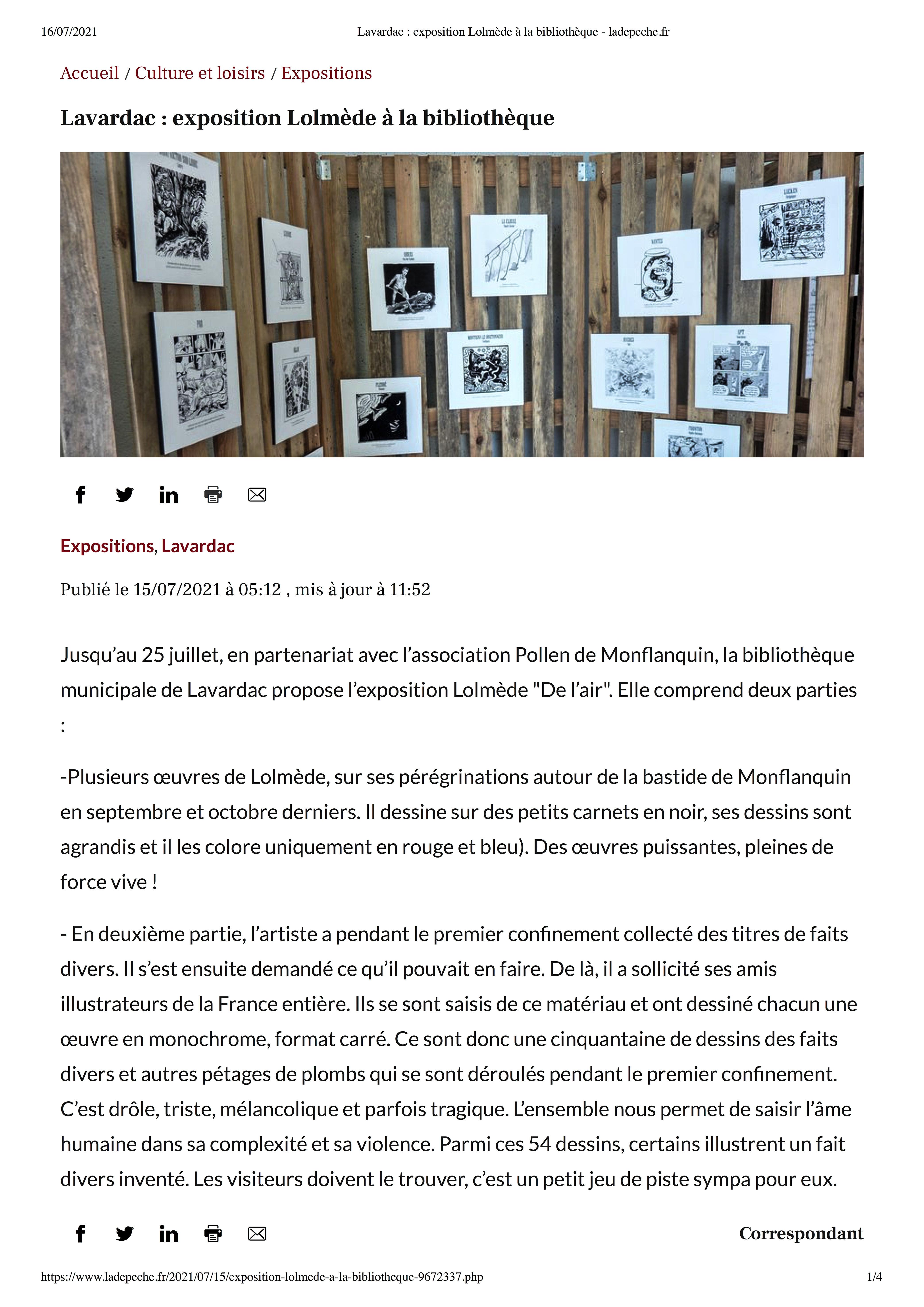 Mu Blondeau - La Depeche - Expo Lavardac - Lolmède